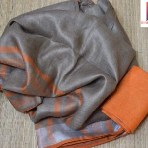grey plain linen sarees