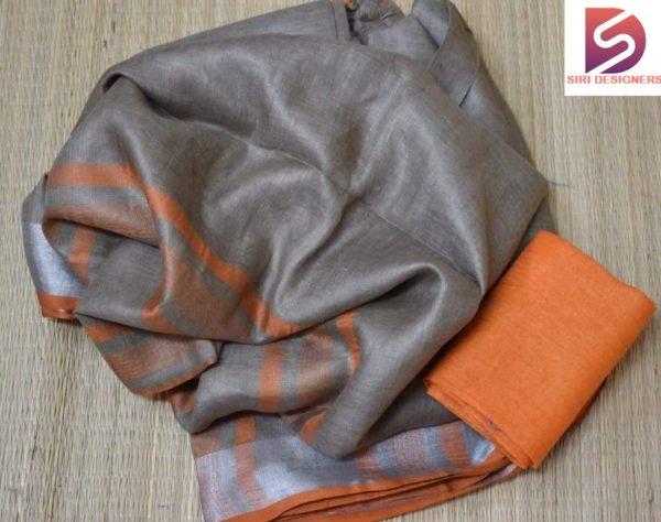 grey plain linen sarees