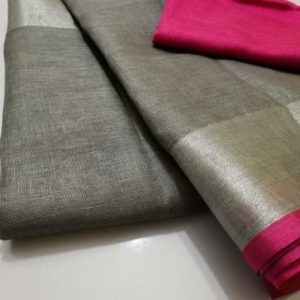 1 Grey plain linen saree with pink blouse