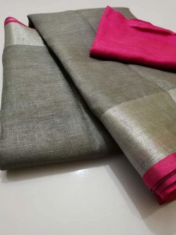 1 Grey plain linen saree with pink blouse