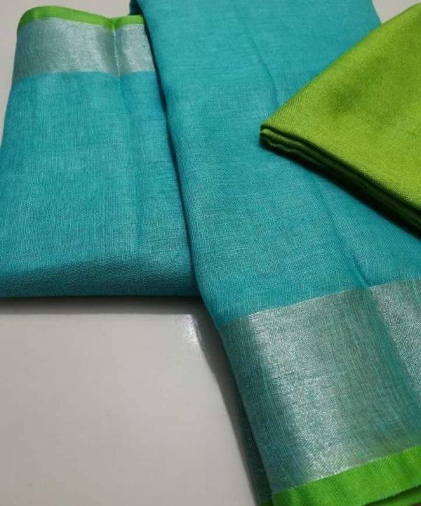 10 sky blueplain linen saree with green blouse