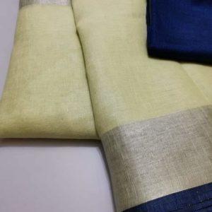 11 half white plain linen saree with blue blouse
