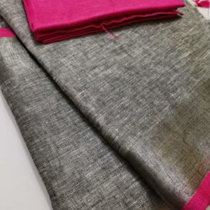 12 grey plain linen saree with pink blouse