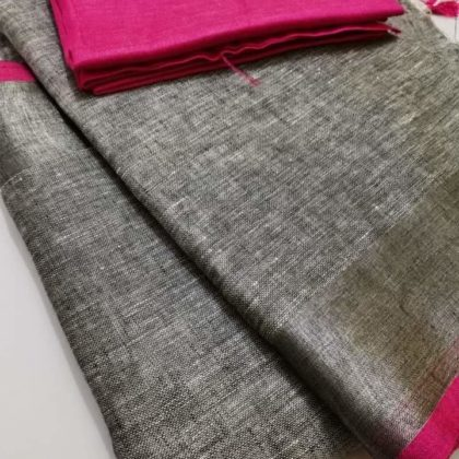 Grey plain linen saree with pink blouse