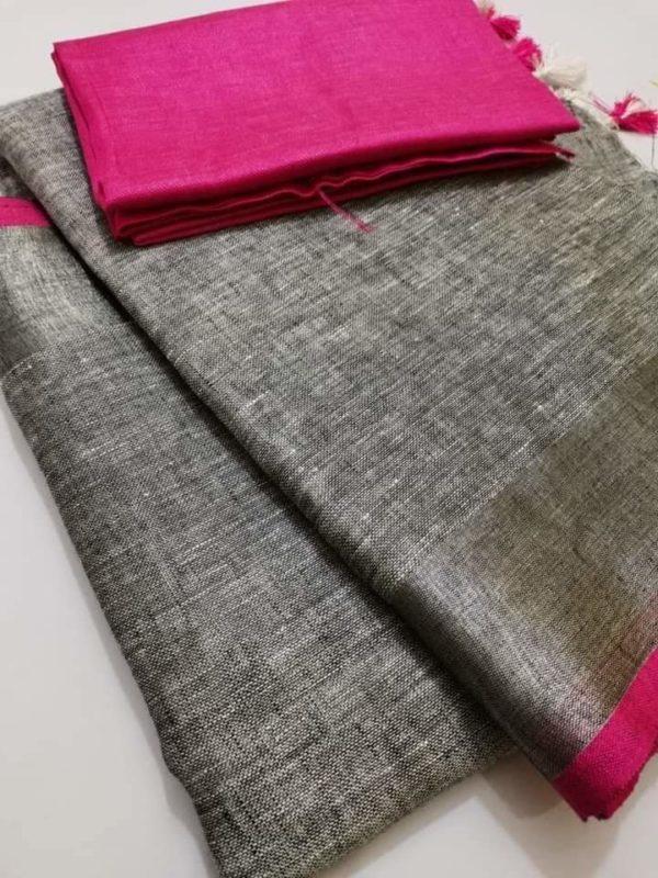 12 grey plain linen saree with pink blouse