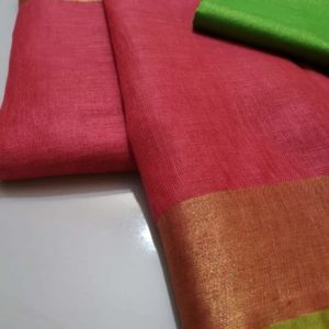 13 ornage plain linen saree with green blouse