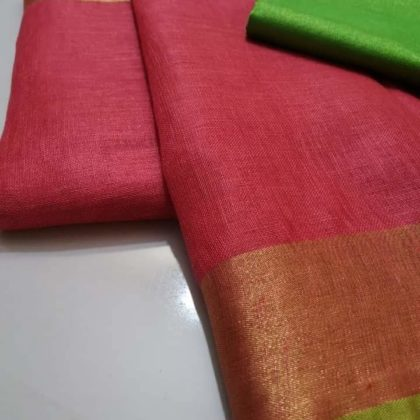 Orange plain linen saree with green blouse