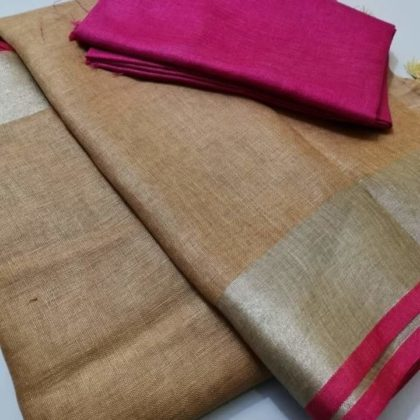 Plain linen saree with pink blouse