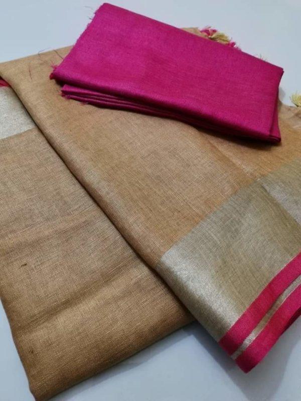 14 plain linen saree with pink blouse