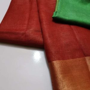 2 Pure plain linen by linen sarees with contrast blouse (24)