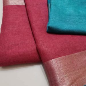 5 pink with blueplain linen sarees