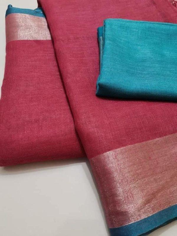 5 pink with blueplain linen sarees