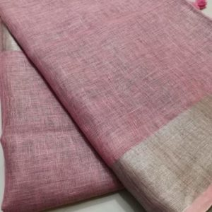 6 light pink plain linen saree