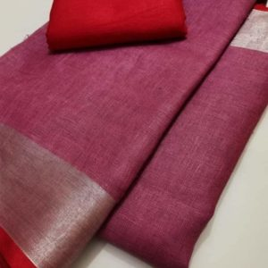 7 plain linen saree with dark red blouse