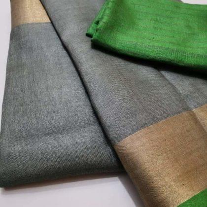 Grey plain linen saree with green blouse