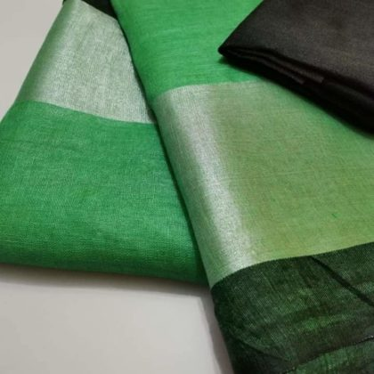 Green plain linen saree with black blouse