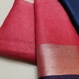pink plain linen saree with navy blue blouse